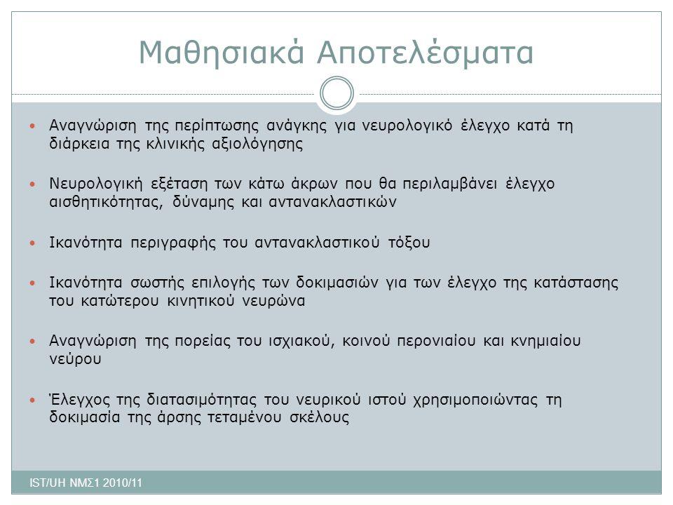 Διαβαθμίσεις Αντανακλαστικών ■ -- ή 0 = ανύπαρκτο ■ - ή 1 = ελάχιστο ■ + ή 2 = μέτριο ■ ++ ή 3 = υπερβολικό ■ +++ ή 4 = κλόνος* ■ Ελαττωμένο ή ανύπαρκτο δείχνει ενόχληση κάποιου σπονδυλικού νεύρου *βλέπε αργότερα IST/UH ΝΜΣ1 2010/11 Σημείωση: τα αντανακλαστικά ελαττώνονται σε ηλικιωμένους και αυξάνονται σε καταστάσεις άγχους