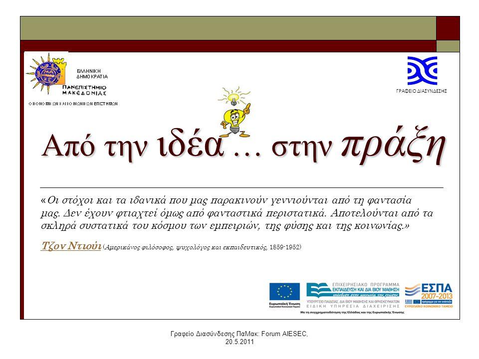 Γραφείο Διασύνδεσης ΠαΜακ: Forum AIESEC, 20.5.2011 Από την ιδέα … στην πράξη « Οι στόχοι και τα ιδανικά που μας παρακινούν γεννιούνται από τη φαντασία