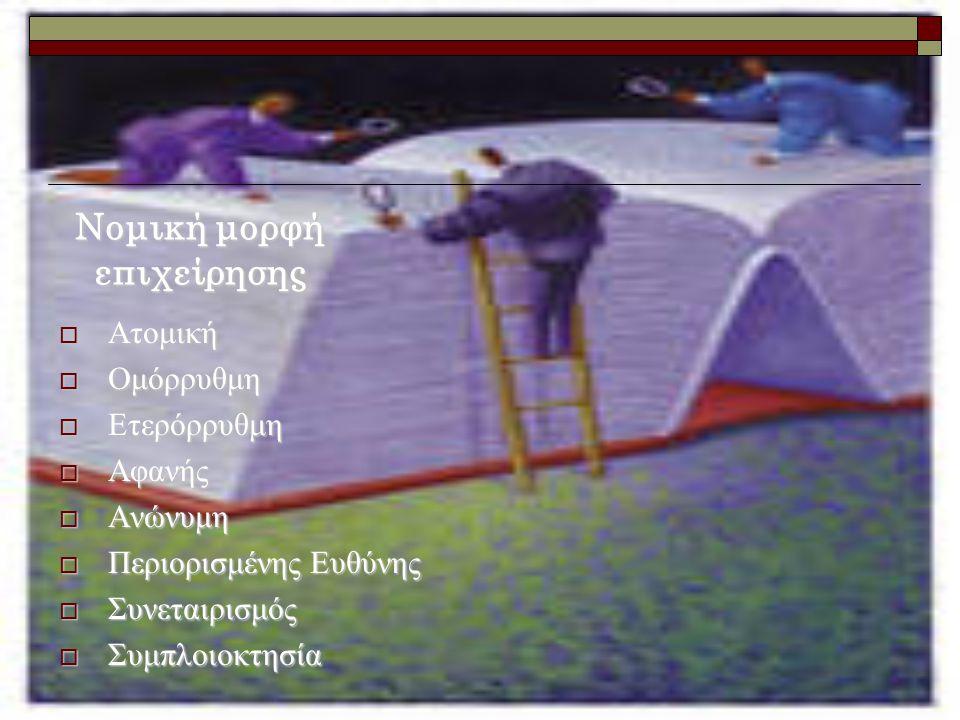 Νομική μορφή επιχείρησης  Ατομική  Ομόρρυθμη  Ετερόρρυθμη  Αφανής  Ανώνυμη  Περιορισμένης Ευθύνης  Συνεταιρισμός  Συμπλοιοκτησία