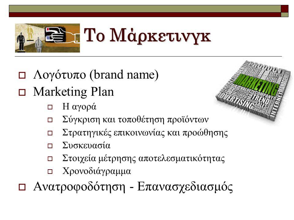 Το Μάρκετινγκ  Λογότυπο (brand name)  Marketing Plan  Η αγορά  Σύγκριση και τοποθέτηση προϊόντων  Στρατηγικές επικοινωνίας και προώθησης  Συσκευασία  Στοιχεία μέτρησης αποτελεσματικότητας  Χρονοδιάγραμμα  Ανατροφοδότηση - Επανασχεδιασμός