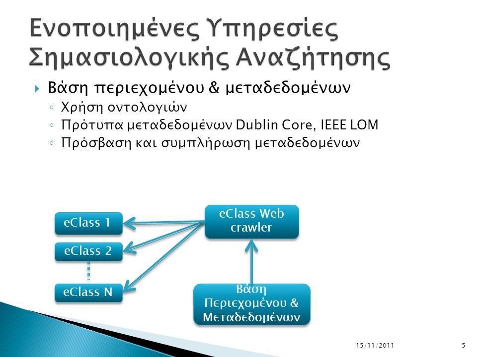  Βάση περιεχομένου & μεταδεδομένων ◦ Χρήση οντολογιών ◦ Πρότυπα μεταδεδομένων Dublin Core, IEEE LOM ◦ Πρόσβαση και συμπλήρωση μεταδεδομένων 15/11/20115 eClass Ν eClass 2 eClass 1 eClass Web crawler Βάση Περιεχομένου & Μεταδεδομένων