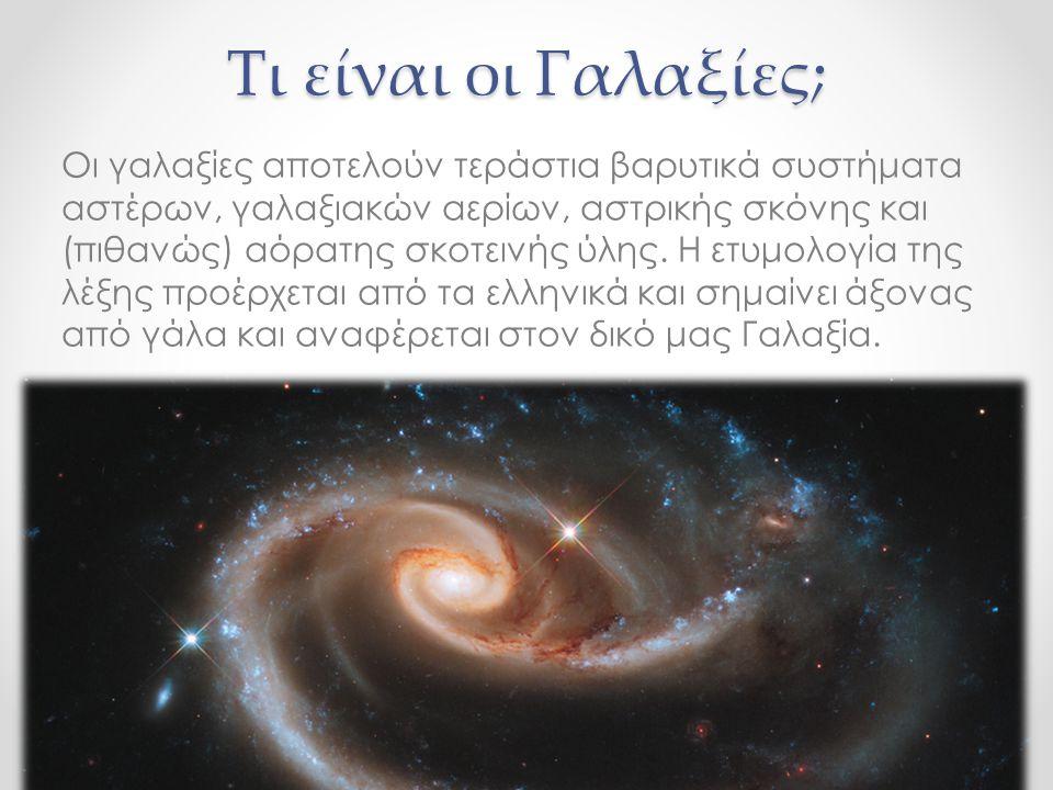 Τι είναι οι Γαλαξίες; Οι γαλαξίες αποτελούν τεράστια βαρυτικά συστήματα αστέρων, γαλαξιακών αερίων, αστρικής σκόνης και (πιθανώς) αόρατης σκοτεινής ύλ