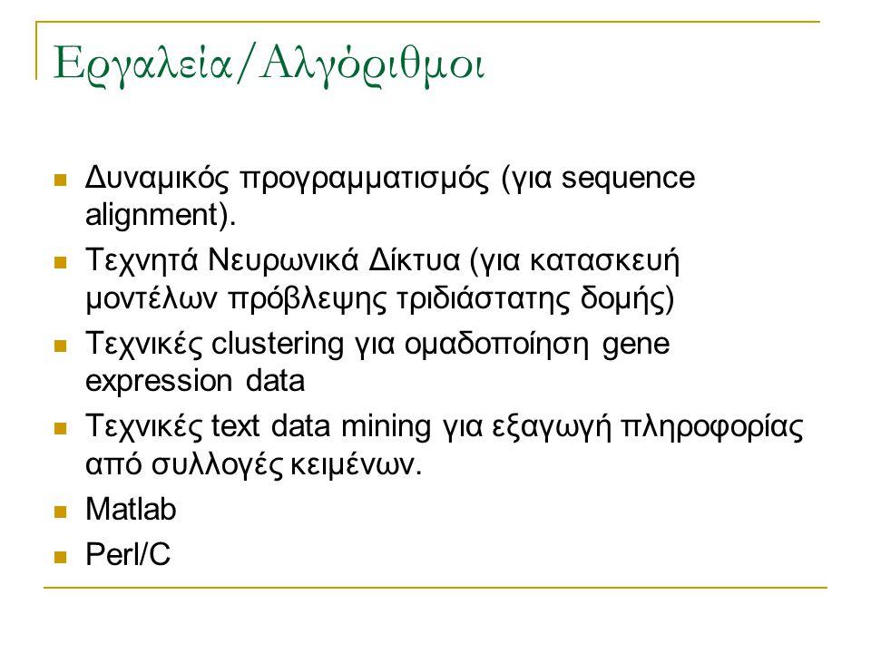 Εργαλεία/Αλγόριθμοι Δυναμικός προγραμματισμός (για sequence alignment). Τεχνητά Νευρωνικά Δίκτυα (για κατασκευή μοντέλων πρόβλεψης τριδιάστατης δομής)