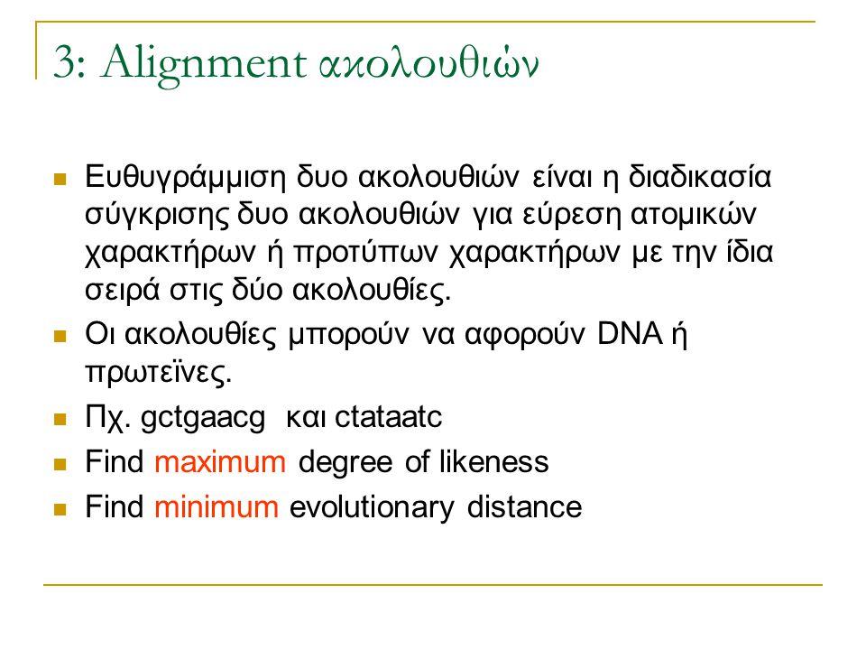 3: Alignment ακολουθιών Ευθυγράμμιση δυο ακολουθιών είναι η διαδικασία σύγκρισης δυο ακολουθιών για εύρεση ατομικών χαρακτήρων ή προτύπων χαρακτήρων μ