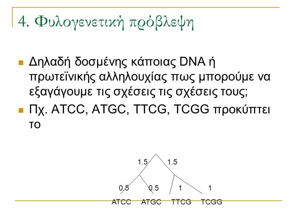 4. Φυλογενετική πρόβλεψη Δηλαδή δοσμένης κάποιας DNA ή πρωτεϊνικής αλληλουχίας πως μπορούμε να εξαγάγουμε τις σχέσεις τις σχέσεις τους; Πχ. ΑΤCC, ATGC