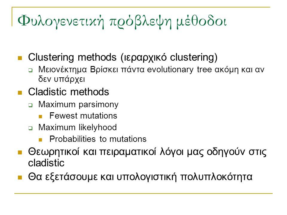 Φυλογενετική πρόβλεψη μέθοδοι Clustering methods (ιεραρχικό clustering)  Μειονέκτημα Βρίσκει πάντα evolutionary tree ακόμη και αν δεν υπάρχει Cladist