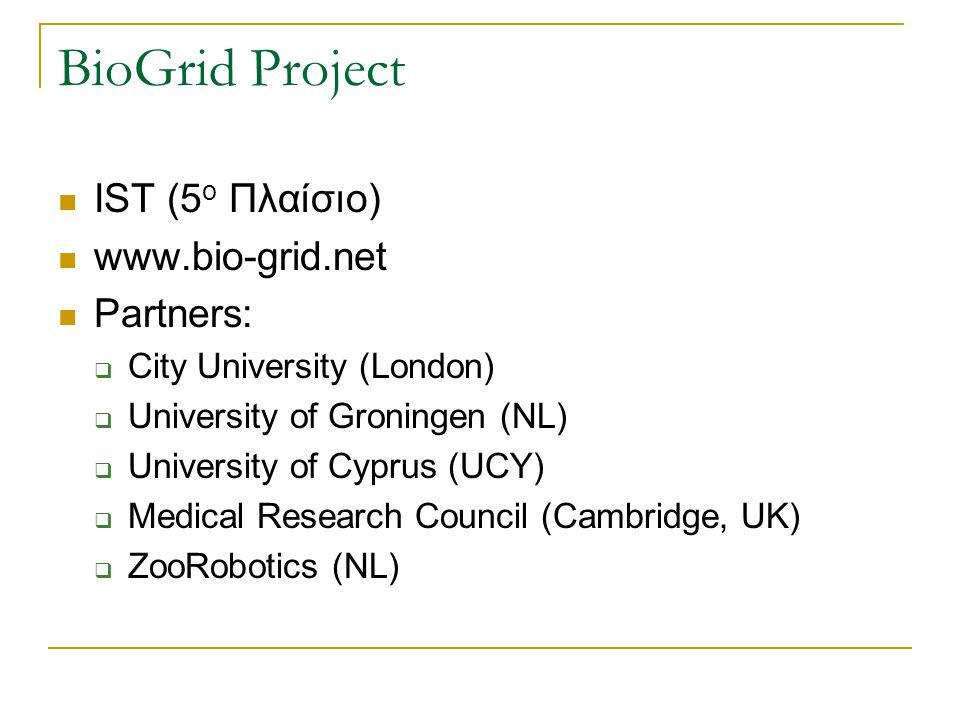 BioGrid Project IST (5 o Πλαίσιο) www.bio-grid.net Partners:  City University (London)  University of Groningen (NL)  University of Cyprus (UCY) 