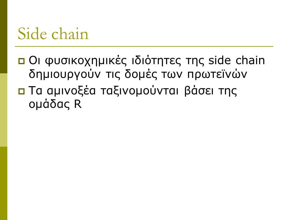 Side chain  Οι φυσικοχημικές ιδιότητες της side chain δημιουργούν τις δομές των πρωτεϊνών  Τα αμινοξέα ταξινομούνται βάσει της ομάδας R
