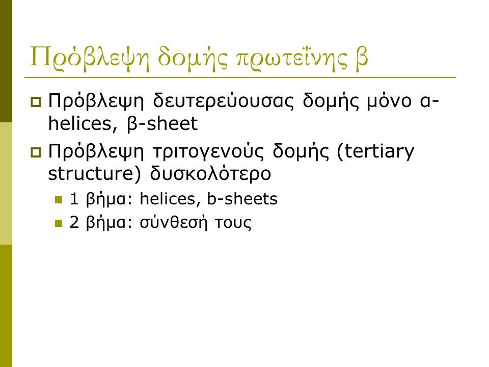  Πρόβλεψη δευτερεύουσας δομής μόνο α- helices, β-sheet  Πρόβλεψη τριτογενούς δομής (tertiary structure) δυσκολότερο 1 βήμα: helices, b-sheets 2 βήμα