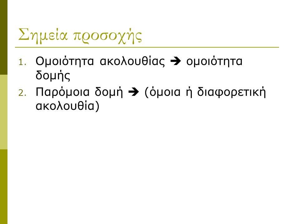 Σημεία προσοχής 1. Ομοιότητα ακολουθίας  ομοιότητα δομής 2. Παρόμοια δομή  (όμοια ή διαφορετική ακολουθία)
