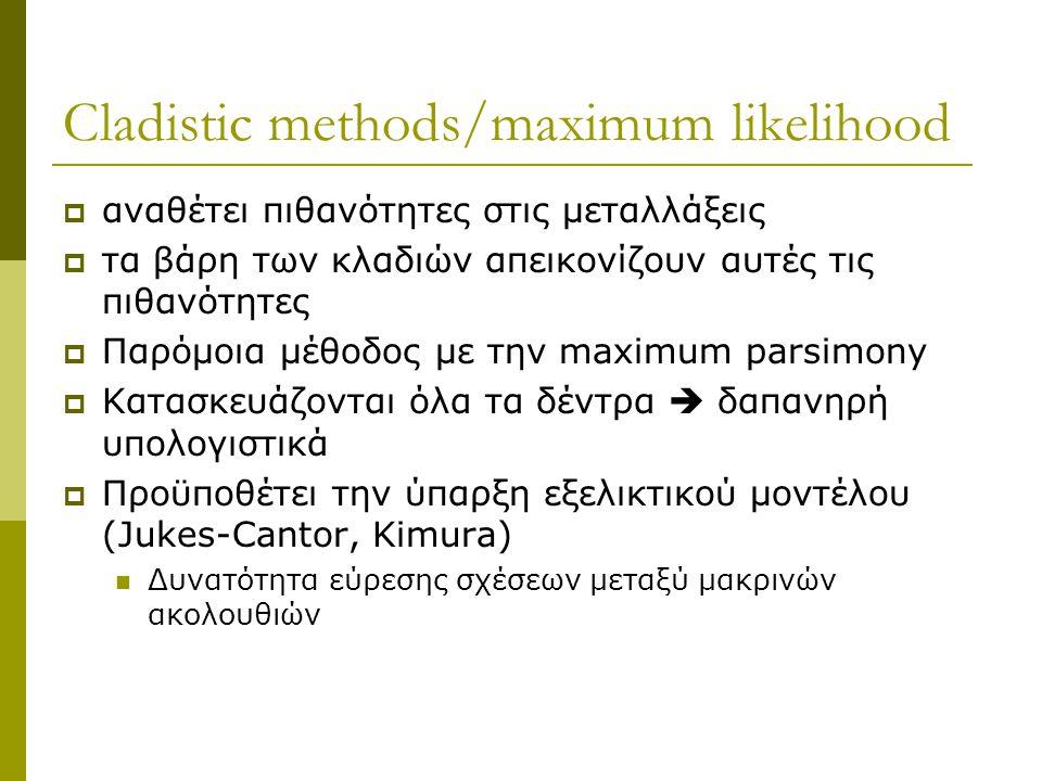 Cladistic methods/maximum likelihood  αναθέτει πιθανότητες στις μεταλλάξεις  τα βάρη των κλαδιών απεικονίζουν αυτές τις πιθανότητες  Παρόμοια μέθοδος με την maximum parsimony  Κατασκευάζονται όλα τα δέντρα  δαπανηρή υπολογιστικά  Προϋποθέτει την ύπαρξη εξελικτικού μοντέλου (Jukes-Cantor, Kimura) Δυνατότητα εύρεσης σχέσεων μεταξύ μακρινών ακολουθιών