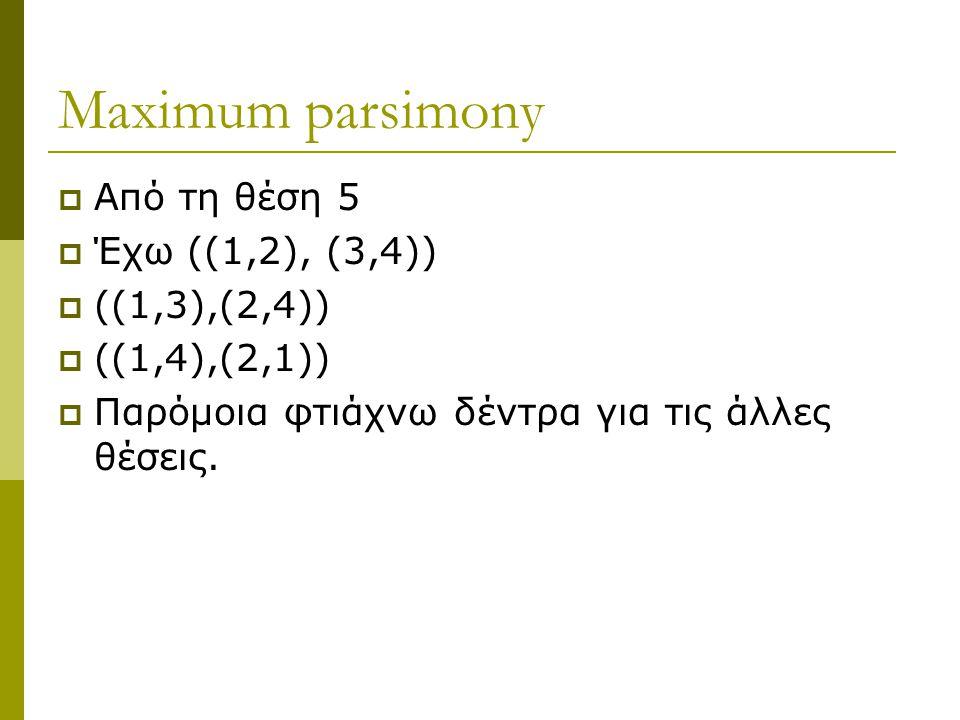 Maximum parsimony  Από τη θέση 5  Έχω ((1,2), (3,4))  ((1,3),(2,4))  ((1,4),(2,1))  Παρόμοια φτιάχνω δέντρα για τις άλλες θέσεις.
