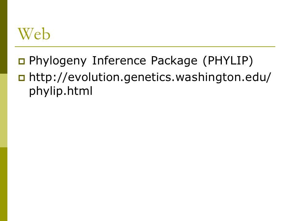 Web  Phylogeny Inference Package (PHYLIP)  http://evolution.genetics.washington.edu/ phylip.html