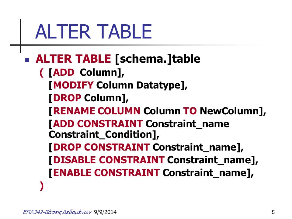 ΕΠΛ342-Βάσεις Δεδομένων 9/9/20148 ALTER TABLE ALTER TABLE [schema.]table ([ADD Column], [MODIFY Column Datatype], [DROP Column], [RENAME COLUMN Column TO NewColumn], [ADD CONSTRAINT Constraint_name Constraint_Condition], [DROP CONSTRAINT Constraint_name], [DISABLE CONSTRAINT Constraint_name], [ENABLE CONSTRAINT Constraint_name], )