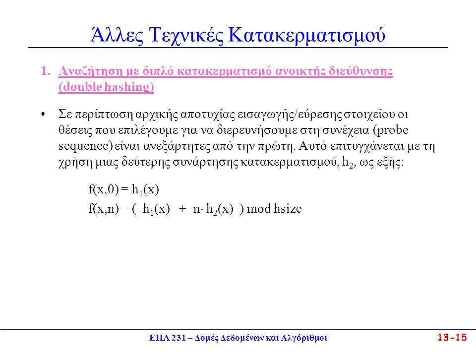 ΕΠΛ 231 – Δομές Δεδομένων και Αλγόριθμοι13-16 Άλλες Τεχνικές Κατακερματισμού 2.