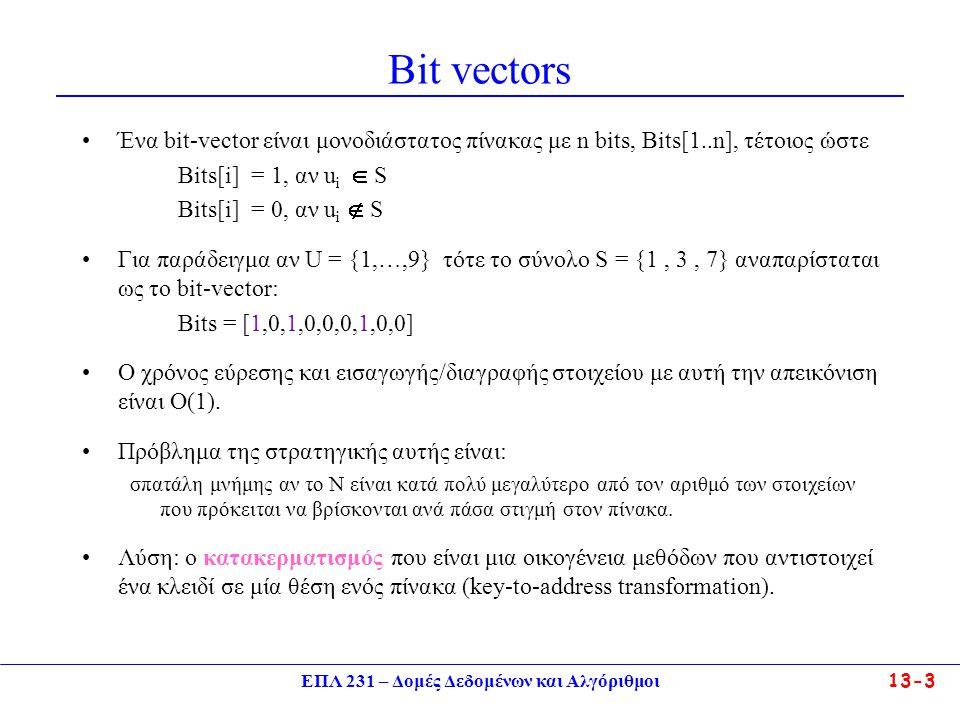 ΕΠΛ 231 – Δομές Δεδομένων και Αλγόριθμοι13-4 Κατακερματισμός – Κεντρική Ιδέα Πίνακας κατακερματισμού (hash table) είναι μια δομή δεδομένων που υποστηρίζει τις διαδικασίες insert και find σε (σχεδόν) σταθερό χρόνο.
