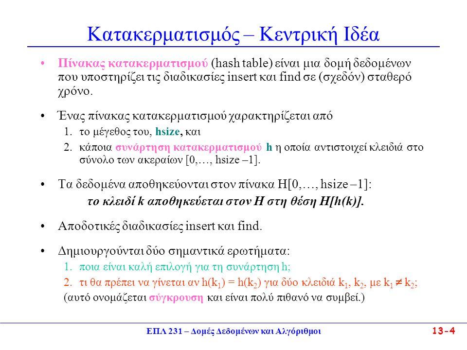 ΕΠΛ 231 – Δομές Δεδομένων και Αλγόριθμοι13-5 Παράδειγμα Έστω ότι τα δεδομένα μας είναι ζεύγη (όνομα, αρ.