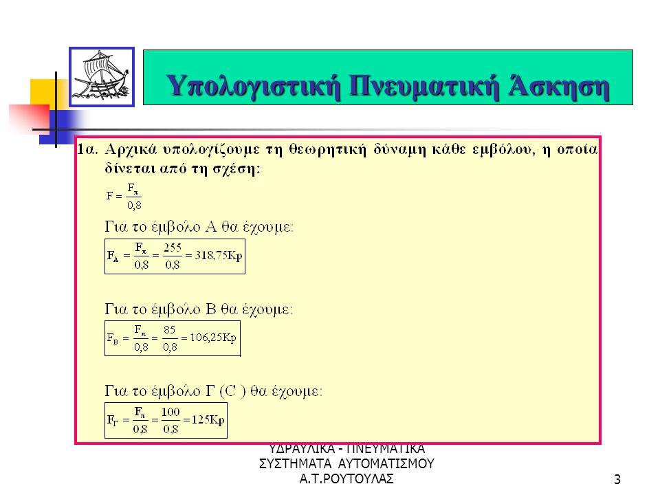 ΥΔΡΑΥΛΙΚΑ - ΠΝΕΥΜΑΤΙΚΑ ΣΥΣΤΗΜΑΤΑ ΑΥΤΟΜΑΤΙΣΜΟΥ Α.Τ.ΡΟΥΤΟΥΛΑΣ23 Υπολογιστική Υδραυλική Άσκηση