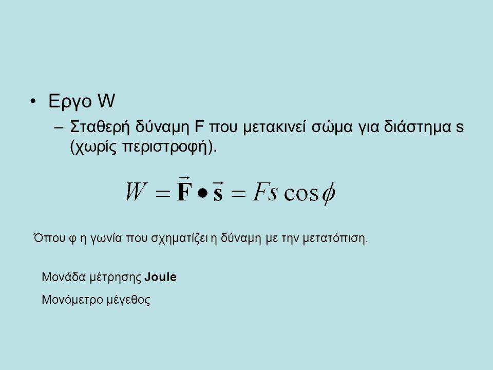 Εργο W –Σταθερή δύναμη F που μετακινεί σώμα για διάστημα s (χωρίς περιστροφή). Όπου φ η γωνία που σχηματίζει η δύναμη με την μετατόπιση. Μονάδα μέτρησ