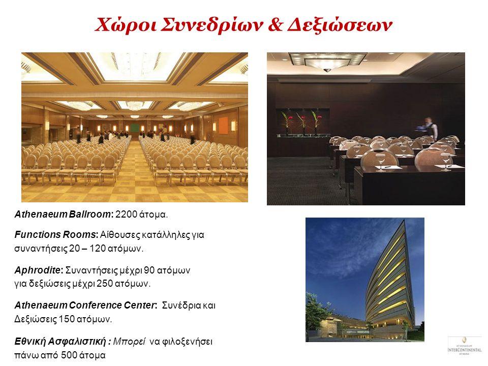 Χώροι Συνεδρίων & Δεξιώσεων Athenaeum Ballroom: 2200 άτομα. Functions Rooms: Aίθουσες κατάλληλες για συναντήσεις 20 – 120 ατόμων. Aphrodite: Συναντήσε