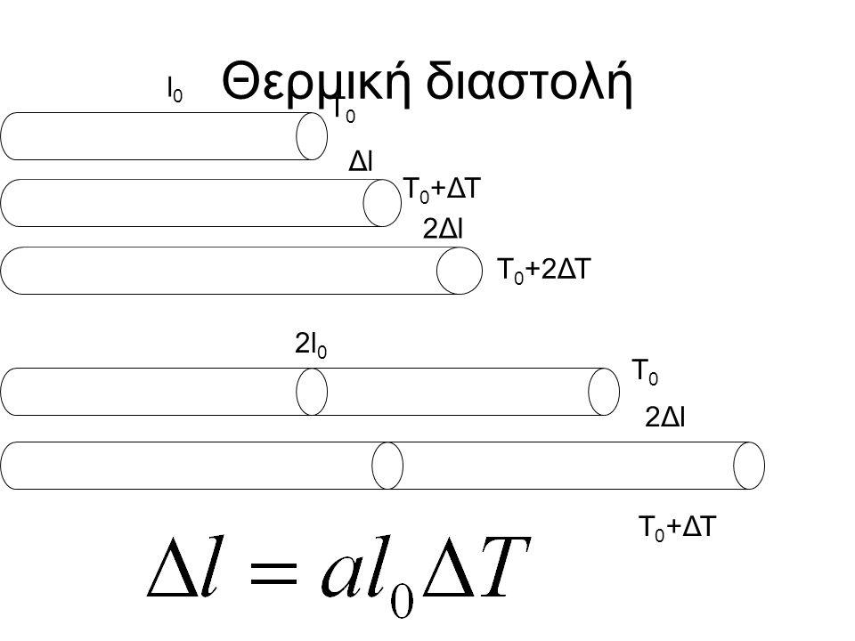 Θερμική διαστολή l0l0 ΔlΔl 2Δl2Δl T0T0 T 0 +ΔΤ T 0 +2ΔΤ 2l 0 2Δl2Δl T0T0 T 0 +ΔΤ