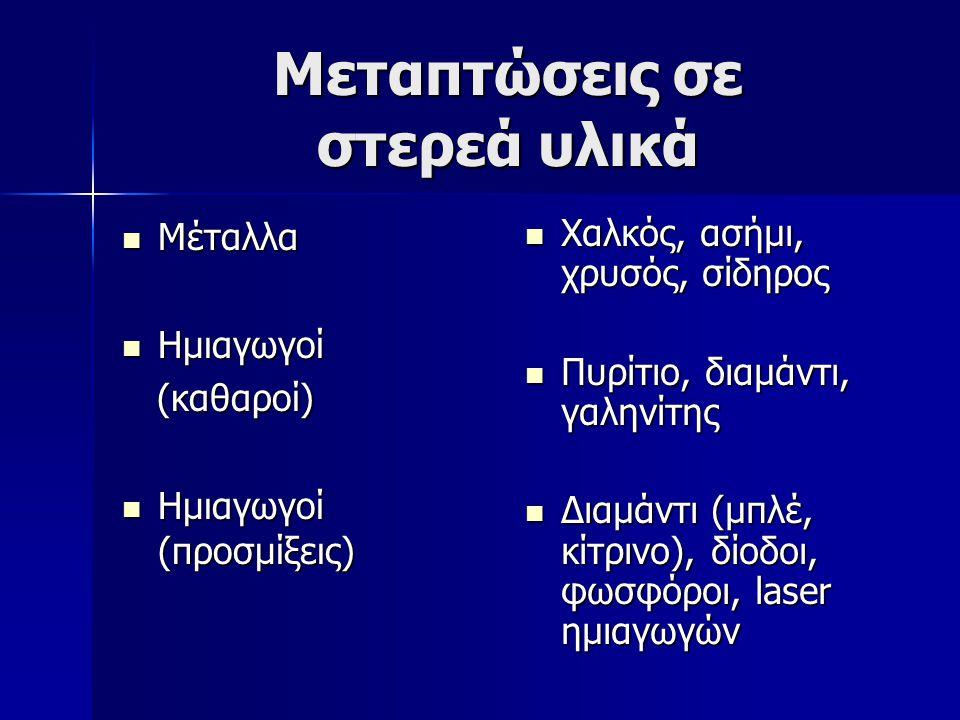Μεταπτώσεις σε στερεά υλικά Μέταλλα Μέταλλα Ημιαγωγοί Ημιαγωγοί (καθαροί) (καθαροί) Ημιαγωγοί (προσμίξεις) Ημιαγωγοί (προσμίξεις) Χαλκός, ασήμι, χρυσό