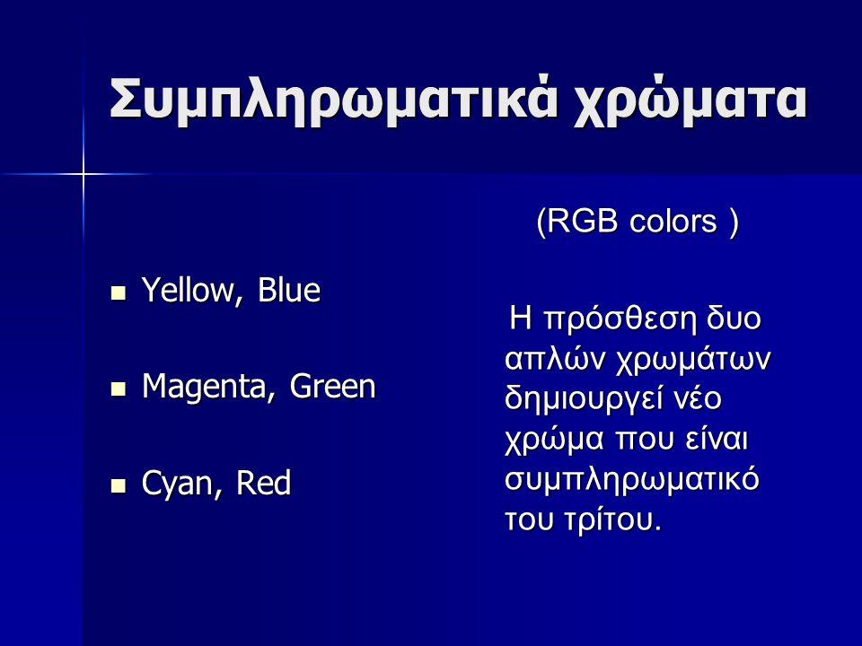 Συμπληρωματικά χρώματα Yellow, Blue Yellow, Blue Magenta, Green Magenta, Green Cyan, Red Cyan, Red (RGB colors ) Η πρόσθεση δυο απλών χρωμάτων δημιουρ