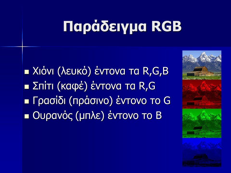 Παράδειγμα RGB Χιόνι (λευκό) έντονα τα R,G,B Χιόνι (λευκό) έντονα τα R,G,B Σπίτι (καφέ) έντονα τα R,G Σπίτι (καφέ) έντονα τα R,G Γρασίδι (πράσινο) έντ