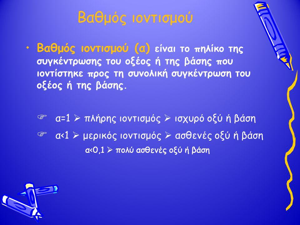 Βαθμός ιοντισμού Βαθμός ιοντισμού (α) είναι το πηλίκο της συγκέντρωσης του οξέος ή της βάσης που ιοντίστηκε προς τη συνολική συγκέντρωση του οξέος ή τ