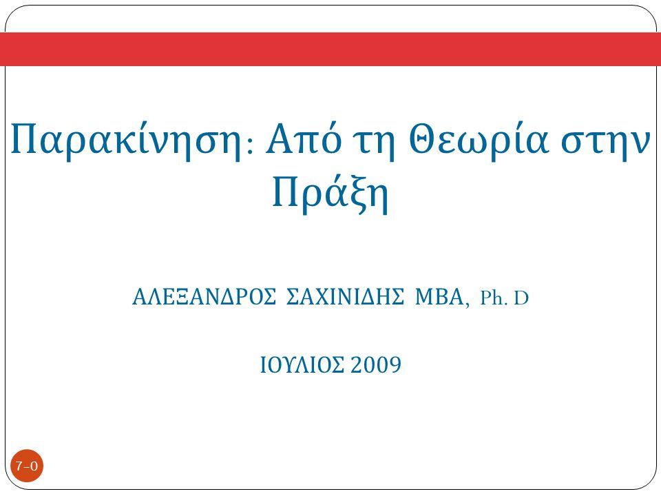 7–0 Παρακίνηση : Από τη Θεωρία στην Πράξη ΑΛΕΞΑΝΔΡΟΣ ΣΑΧΙΝΙΔΗΣ ΜΒΑ, Ph. D ΙΟΥΛΙΟΣ 2009