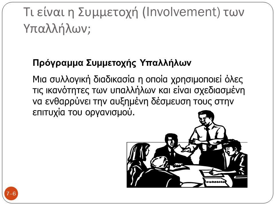 Τι είναι η Συμμετοχή (Involvement) των Υπαλλήλων ; 7–6 Πρόγραμμα Συμμετοχής Υπαλλήλων Μια συλλογική διαδικασία η οποία χρησιμοποιεί όλες τις ικανότητε