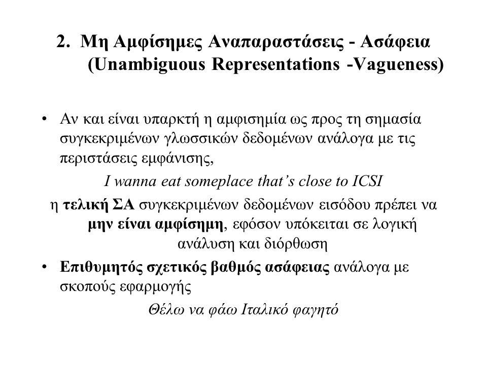 2. Μη Αμφίσημες Αναπαραστάσεις - Ασάφεια (Unambiguous Representations -Vagueness) Αν και είναι υπαρκτή η αμφισημία ως προς τη σημασία συγκεκριμένων γλ
