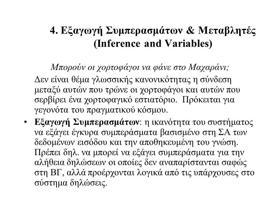 4. Εξαγωγή Συμπερασμάτων & Μεταβλητές (Inference and Variables) Μπορούν οι χορτοφάγοι να φάνε στο Μαχαράνι; Δεν είναι θέμα γλωσσικής κανονικότητας η σ