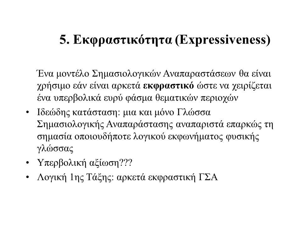 5. Εκφραστικότητα (Expressiveness) Ένα μοντέλο Σημασιολογικών Αναπαραστάσεων θα είναι χρήσιμο εάν είναι αρκετά εκφραστικό ώστε να χειρίζεται ένα υπερβ