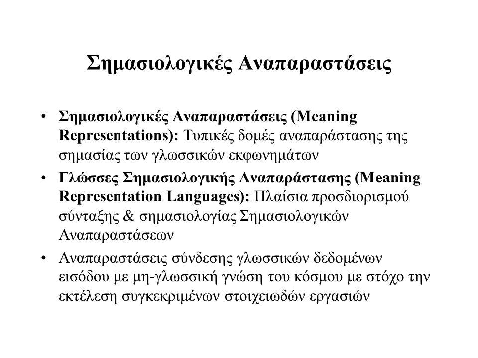 Σημασιολογικές Aναπαραστάσεις Σημασιολογικές Αναπαραστάσεις (Meaning Representations): Τυπικές δομές αναπαράστασης της σημασίας των γλωσσικών εκφωνημά