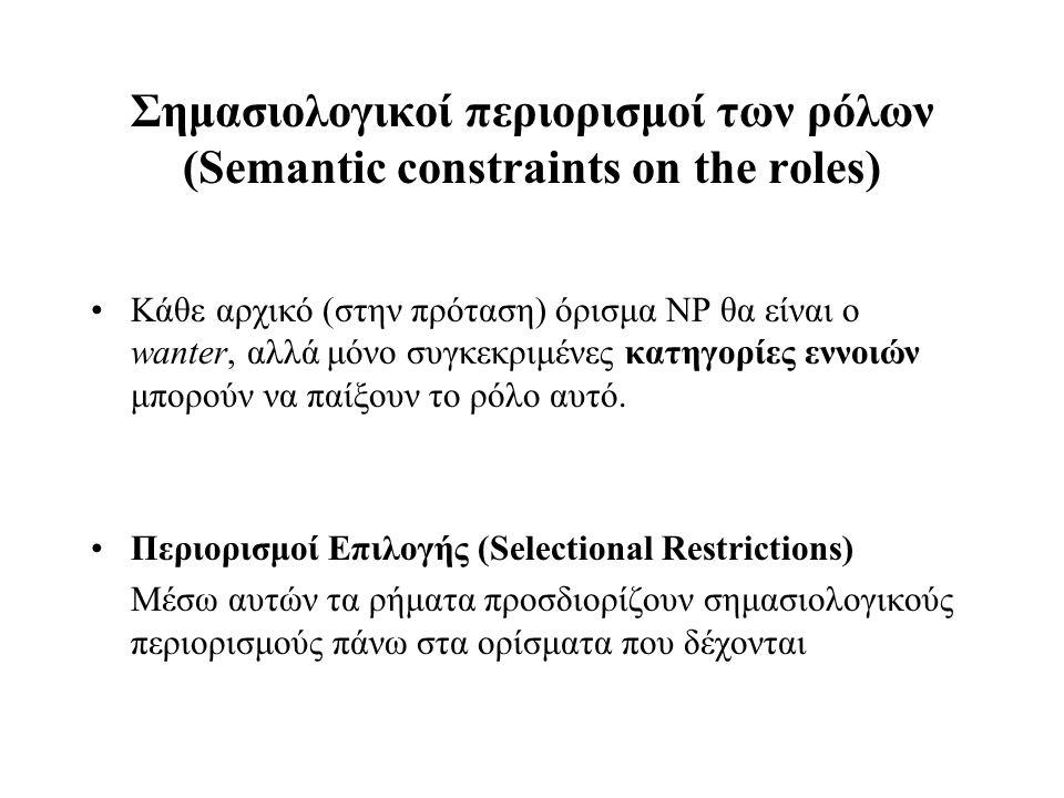 Σημασιολογικοί περιορισμοί των ρόλων (Semantic constraints on the roles) Κάθε αρχικό (στην πρόταση) όρισμα NP θα είναι ο wanter, αλλά μόνο συγκεκριμέν