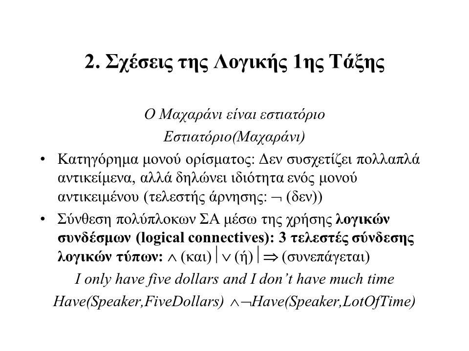 2. Σχέσεις της Λογικής 1ης Τάξης Ο Μαχαράνι είναι εστιατόριο Εστιατόριο(Μαχαράνι) Κατηγόρημα μονού ορίσματος: Δεν συσχετίζει πολλαπλά αντικείμενα, αλλ