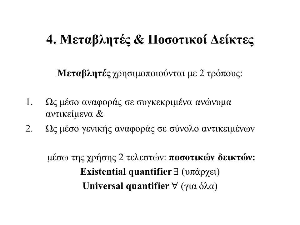 4. Μεταβλητές & Ποσοτικοί Δείκτες Μεταβλητές χρησιμοποιούνται με 2 τρόπους: 1.Ως μέσο αναφοράς σε συγκεκριμένα ανώνυμα αντικείμενα & 2.Ως μέσο γενικής
