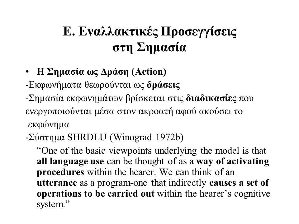 Ε. Εναλλακτικές Προσεγγίσεις στη Σημασία Η Σημασία ως Δράση (Action) -Εκφωνήματα θεωρούνται ως δράσεις -Σημασία εκφωνημάτων βρίσκεται στις διαδικασίες