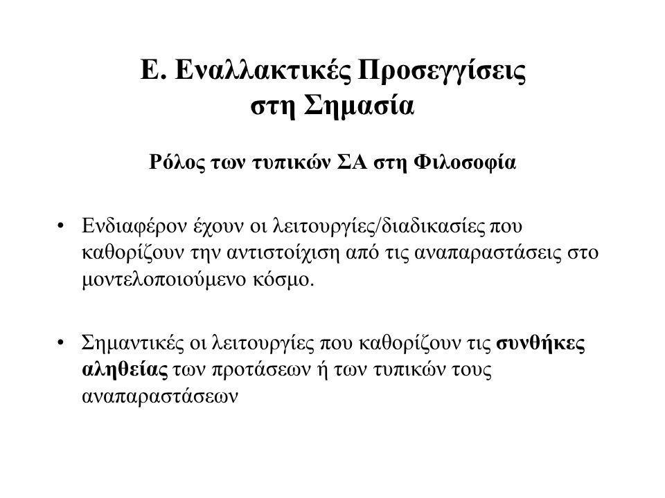 Ε. Εναλλακτικές Προσεγγίσεις στη Σημασία Ρόλος των τυπικών ΣΑ στη Φιλοσοφία Ενδιαφέρον έχουν οι λειτουργίες/διαδικασίες που καθορίζουν την αντιστοίχισ