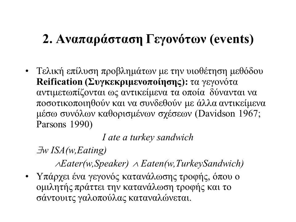 2. Αναπαράσταση Γεγονότων (events) Τελική επίλυση προβλημάτων με την υιοθέτηση μεθόδου Reification (Συγκεκριμενοποίησης): τα γεγονότα αντιμετωπίζονται