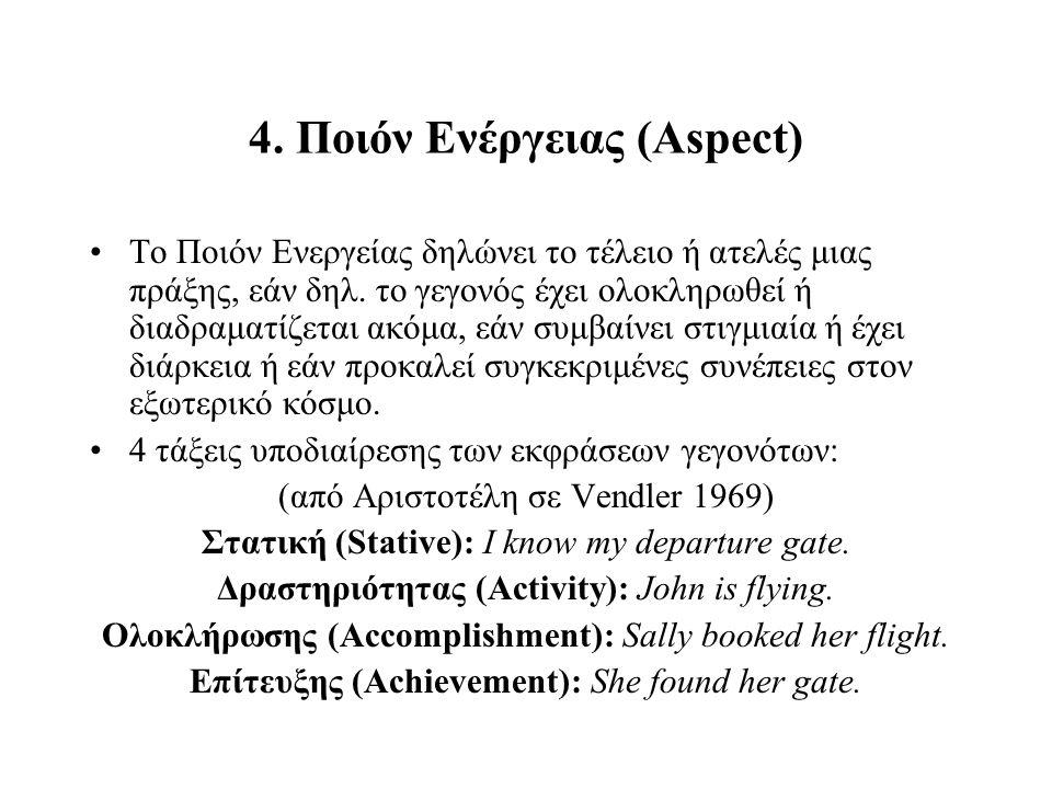4. Ποιόν Ενέργειας (Aspect) Το Ποιόν Ενεργείας δηλώνει το τέλειο ή ατελές μιας πράξης, εάν δηλ. το γεγονός έχει ολοκληρωθεί ή διαδραματίζεται ακόμα, ε