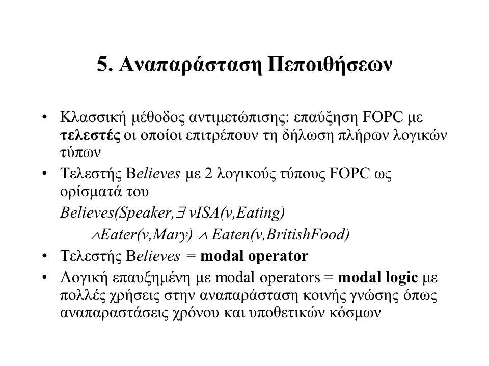 5. Αναπαράσταση Πεποιθήσεων Κλασσική μέθοδος αντιμετώπισης: επαύξηση FOPC με τελεστές οι οποίοι επιτρέπουν τη δήλωση πλήρων λογικών τύπων Τελεστής Bel