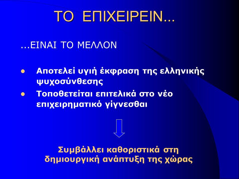 ΤΟ ΕΠΙΧΕΙΡΕΙΝ......ΕΙΝΑΙ ΤΟ ΜΕΛΛΟΝ Αποτελεί υγιή έκφραση της ελληνικής ψυχοσύνθεσης Τοποθετείται επιτελικά στο νέο επιχειρηματικό γίγνεσθαι Συμβάλλει καθοριστικά στη δημιουργική ανάπτυξη της χώρας