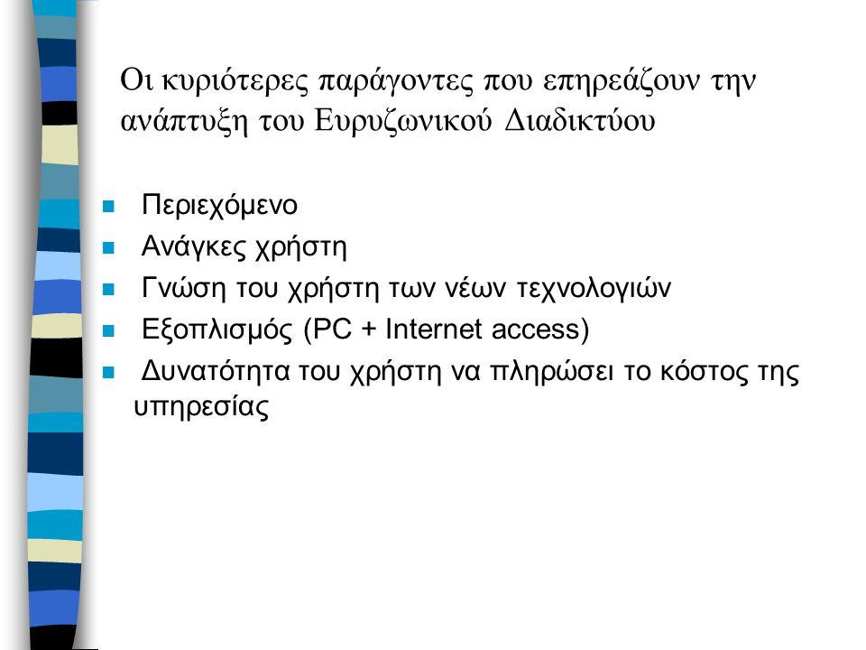 Οι κυριότερες παράγοντες που επηρεάζουν την ανάπτυξη του Ευρυζωνικού Διαδικτύου n Περιεχόμενο n Ανάγκες χρήστη n Γνώση του χρήστη των νέων τεχνολογιών n Εξοπλισμός (PC + Internet access) n Δυνατότητα του χρήστη να πληρώσει το κόστος της υπηρεσίας