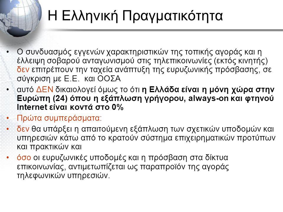 Η Ελληνική Πραγματικότητα Ο συνδυασμός εγγενών χαρακτηριστικών της τοπικής αγοράς και η έλλειψη σοβαρού ανταγωνισμού στις τηλεπικοινωνίες (εκτός κινητής) δεν επιτρέπουν την ταχεία ανάπτυξη της ευρυζωνικής πρόσβασης, σε σύγκριση με Ε.Ε.