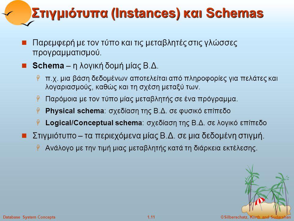 ©Silberschatz, Korth and Sudarshan1.11Database System Concepts Στιγμιότυπα (Instances) και Schemas Παρεμφερή με τον τύπο και τις μεταβλητές στις γλώσσ