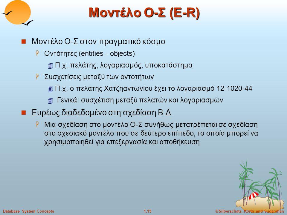 ©Silberschatz, Korth and Sudarshan1.15Database System Concepts Μοντέλο Ο-Σ (Ε-R) Μοντέλο Ο-Σ στον πραγματικό κόσμο  Οντότητες (entities - objects) 