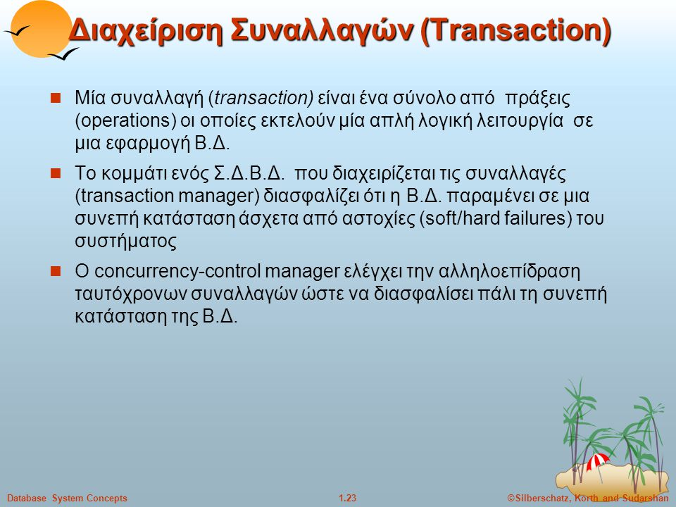©Silberschatz, Korth and Sudarshan1.23Database System Concepts Διαχείριση Συναλλαγών (Transaction) Μία συναλλαγή (transaction) είναι ένα σύνολο από πρ