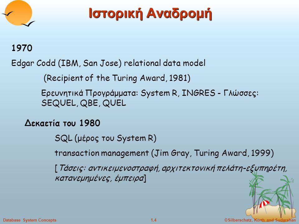 ©Silberschatz, Korth and Sudarshan1.5Database System Concepts Ιστορική Αναδρομή Δεκαετία του 1990 εμπορικά αντικειμενοστραφή συστήματα [Τάσεις: πολυβάσεις, χωρικές & χρονικές, πολυμέσα, αποθήκες δεδομένων, συμπερασματικες] Δεκαετία του 2000 [Τάσεις: Asilomar Report http://www.research.microsoft.com/~gray/Asilomar_DB_98.html The Web Changes Everything Unifying Program Logic and Database Systems Hardware Advances: Scale up to MegaServers and Scale Down to Appliances]